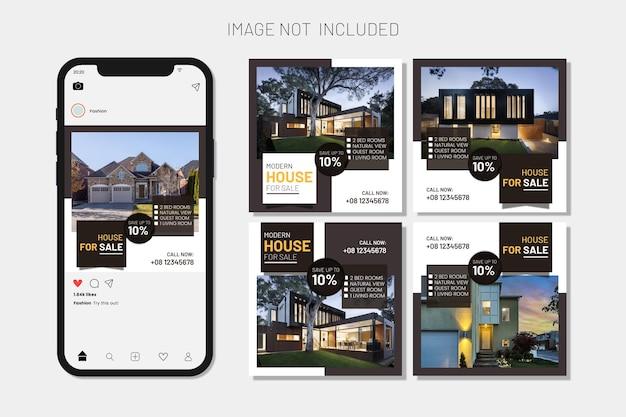 Коллекция постов в instagram и набор веб-баннеров house sell