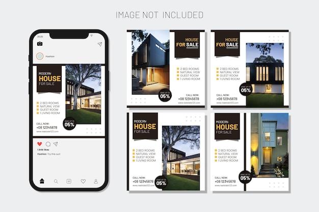 Коллекция постов в instagram и веб-баннер house sell