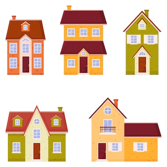 House   set. colorful residential houses in a flat style.