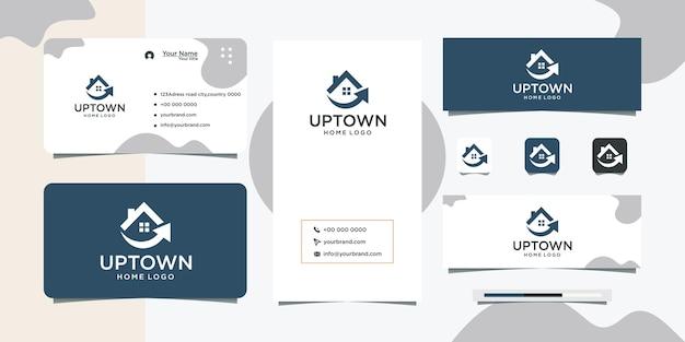 House shape arrow design logo and business card design