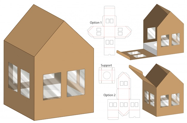 House shape box packaging die cut template design