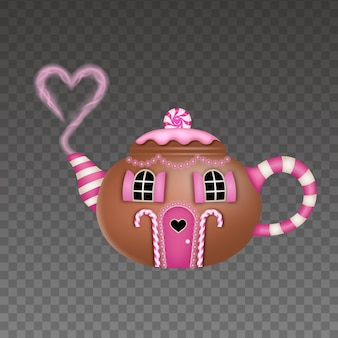 House in shape of teapot on transparent background