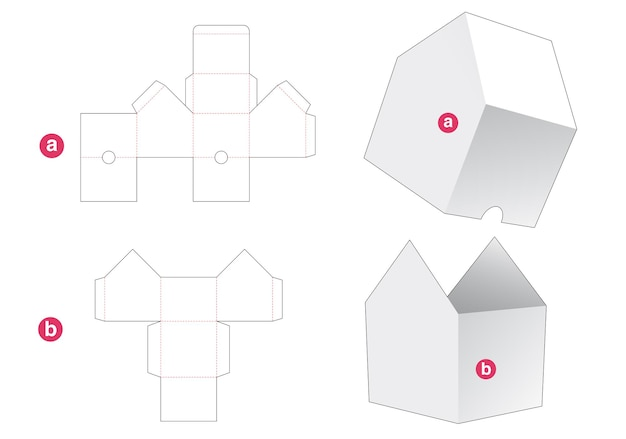 House shaped bowl with cover die cut template