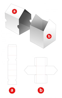 House shaped box and cover die cut template
