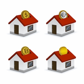 House shaped piggy bank icons with currencies