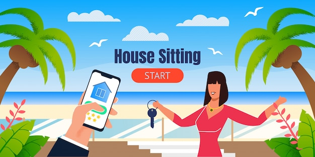 House sitting landing page with tropical design