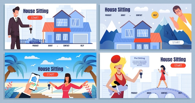 House sitting share economy cartoon landing page