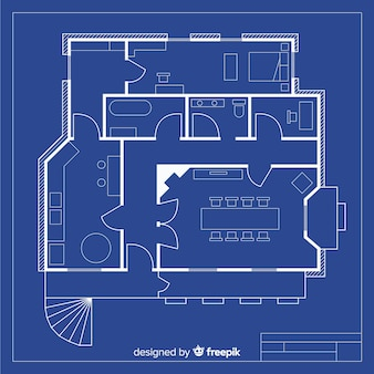 House sketch project with blueprint