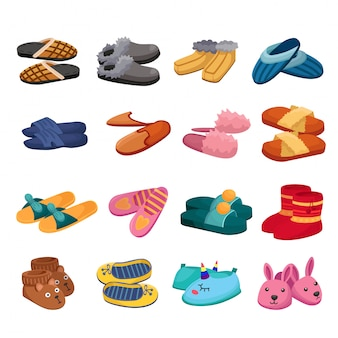 House slipper cartoon  set icon. isolated cartoon icon slipper and shoes.