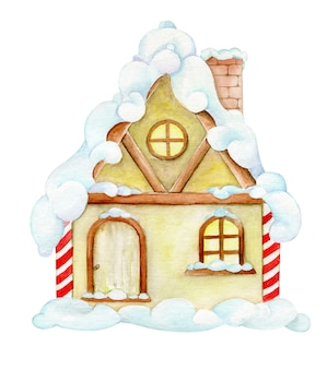 House in the snow, in cartoon style. watercolor, clipart, for christmas card