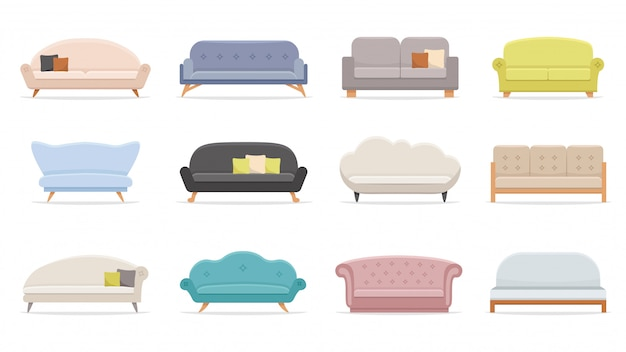 House sofa. comfortable couch, minimalist modern sofas   illustration set