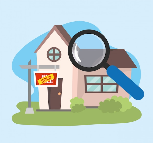 House sold property plan with magnifying glass