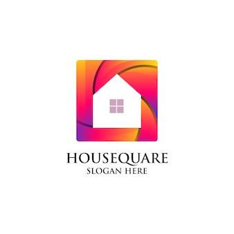 하우스 스퀘어 그라데이션 로고 디자인