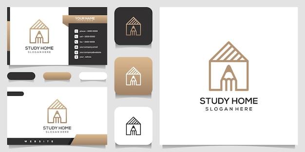 家の研究のロゴのデザインテンプレートと名刺のデザイン