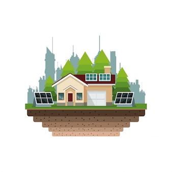 Дом пригородных солнечных панелей фоне города