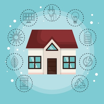 House surrounded by hand drawn eco friendly object stickers over blue background. Vector illustratio