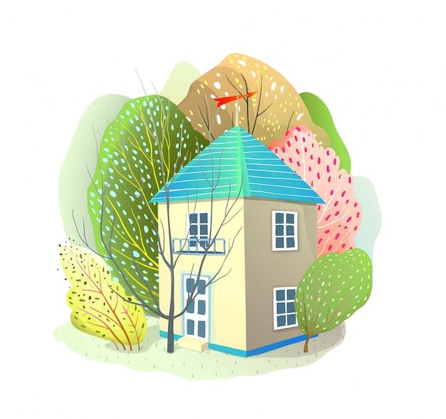 自然に囲まれた小さなコテージの木々に囲まれた家。ベクトル水彩風漫画デザイン。