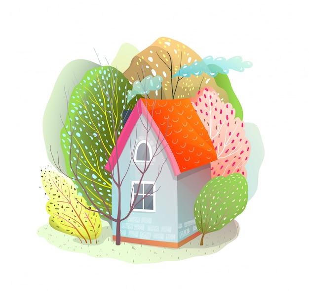Дом в окружении деревьев маленький коттедж в природе. векторный мультфильм стиль дизайна мультфильма.