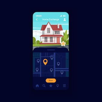 하우스 스왑 스마트폰 인터페이스 벡터 템플릿입니다. 상호 교환. 속성 보기. 안전한 여행 방법. 모바일 앱 페이지 디자인 레이아웃입니다. 홈 공유 화면입니다. 응용 프로그램에 대한 평면 ui. 전화 디스플레이