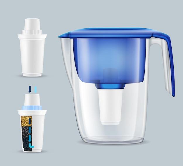 2つの毒素と汚染物質の除去ユニット現実的なセットとハウス水道水フィルターピッチャー