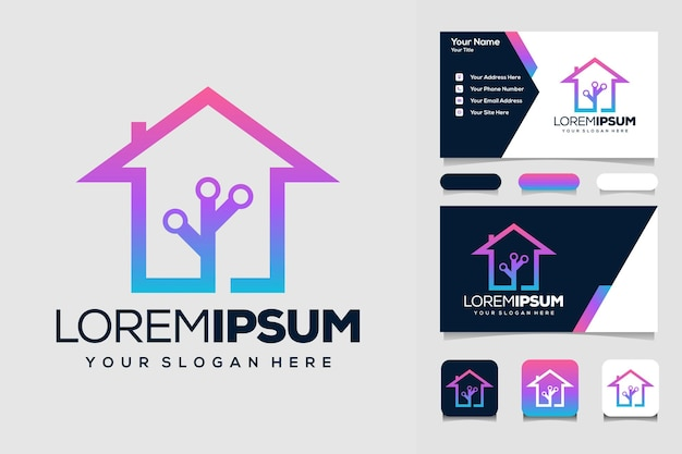 House tech logo design template and business card