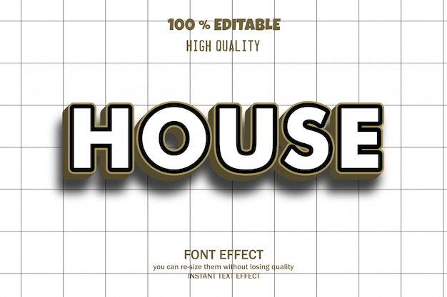 House text,  font effect