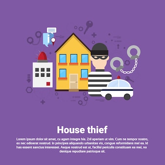 House thief security protection insurance web banner flat vector illustration