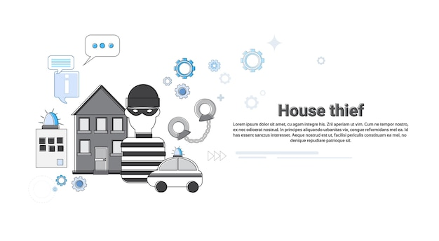 House thief security protection insurance web banner vector illustration