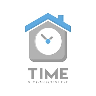 House of time time clock logo design template