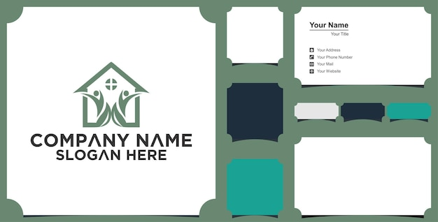 House and tree logo design vector and business card