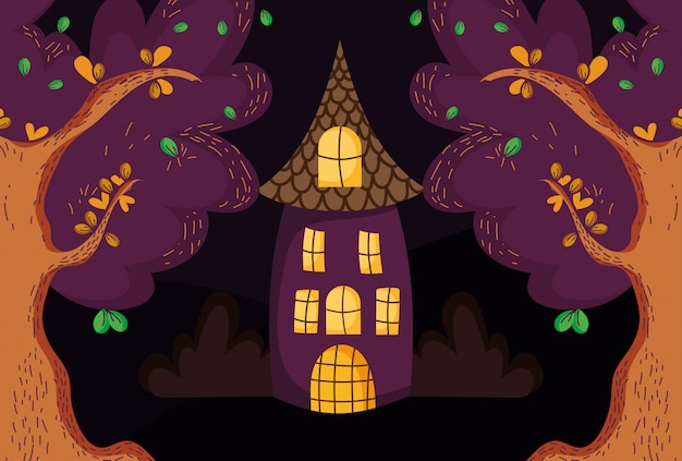 House trees in the forest halloween