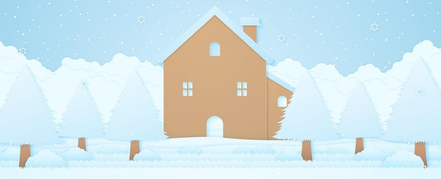 House and trees on snow in winter landscape with snow falling cloudscape background