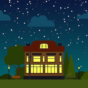 별이 빛나는 하늘 아래 집. 교외 마을 이웃 도시 풍경 그림