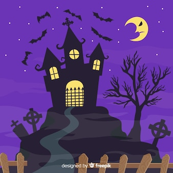 House and upset moon halloween background