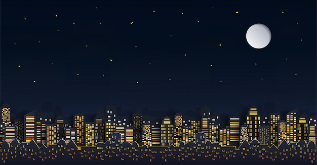 House or village.and cityscape with group of skyscrapers in the night.