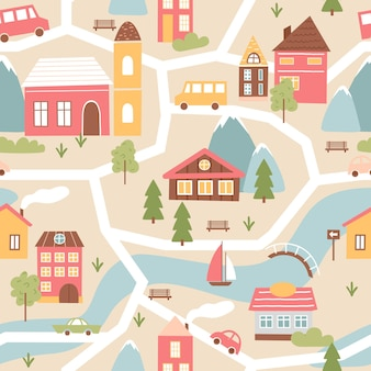 House village with river, seamless pattern texture in cute colors illustration.