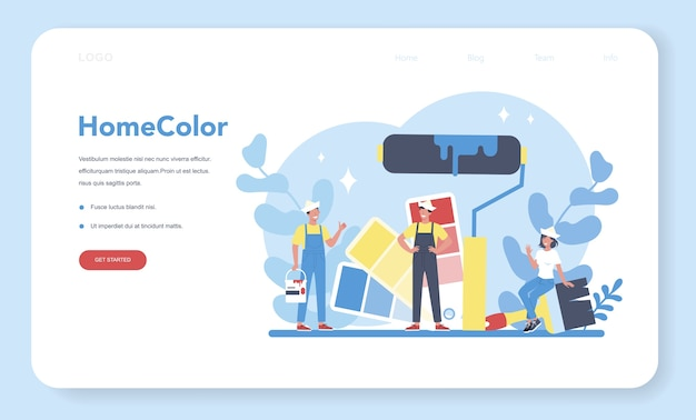 House wall paint web banner or landing page