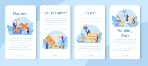 House wall plasterer mobile application banner set.