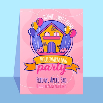 House warming party invitation template design