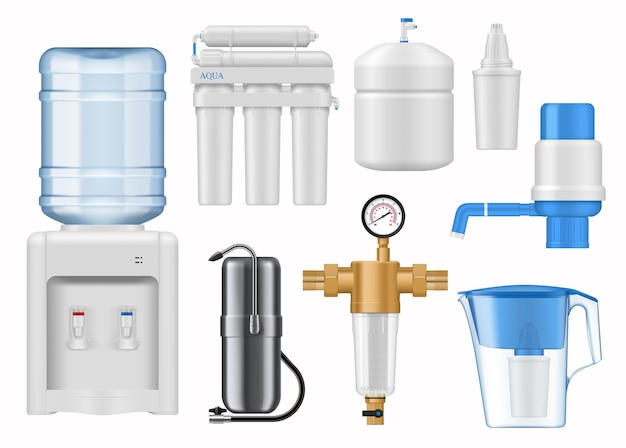 House water filtering equipment mockup. realistic vector bottled water dispenser or cooler, reverse osmosis, pitcher and home countertop water filter cartridges, hand pump, backwash sediment filter