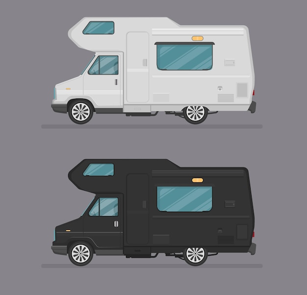 House on wheels,  auto illustration, car icon logo template. flat cartoon style. side view, profile.