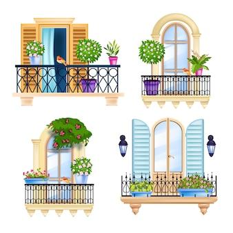 家の窓、バルコニーのファサードの春のセット、花の木、鳥、緑の観葉植物。