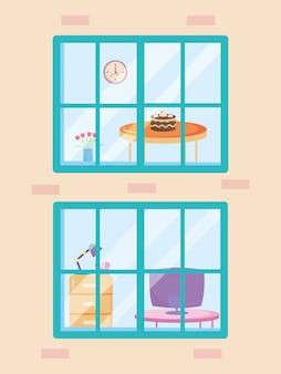 夕食室と事務室を示す家の窓