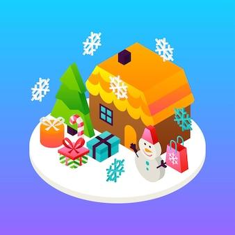 Концепция зимних праздников дома. векторная иллюстрация изометрии поздравительной открытки.