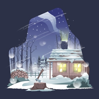 House in winter illustration