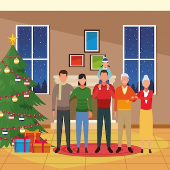 House with christmas decoration and happy family