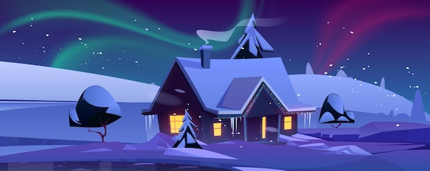 House with christmas decoration at night in winter landscape