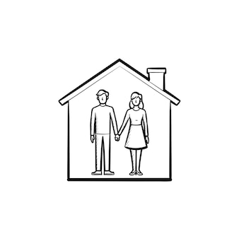 House with couple man and woman hold hands hand drawn outline doodle icon. family home, relationship, concept