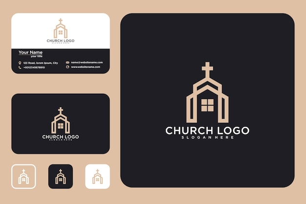 House with cross logo design and business card
