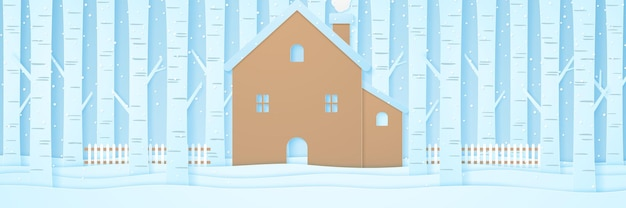 雪が降る冬の風景、紙のアートスタイルの雪の上の柵と松の木のある家